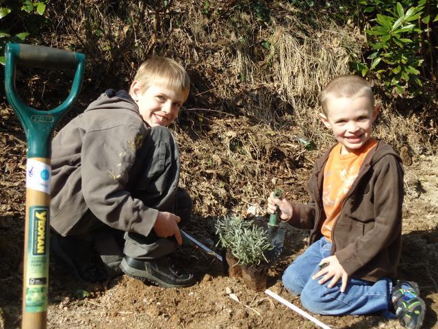 Jacob and Bradley Harris in the garden