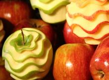 A pile of carved apples