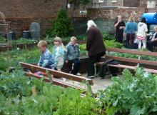 Neighbours enjoying a community celebration in a garden