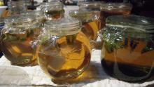 Mint jelly in jars